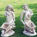 Coppia bimbi cariola- portavaso in graniglia di marmo di carrara