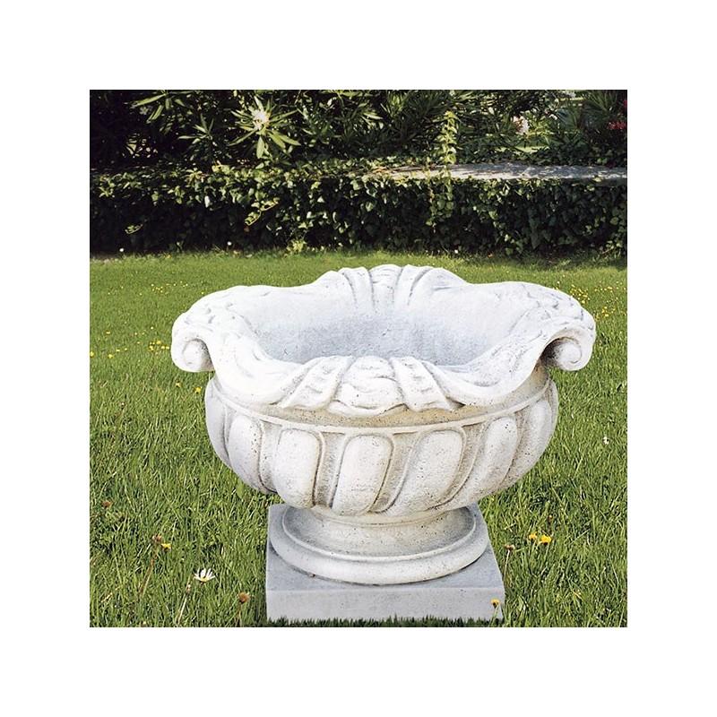 Vaso Corolla (Medio)-arredo da giardino in graniglia di marmo di carrara