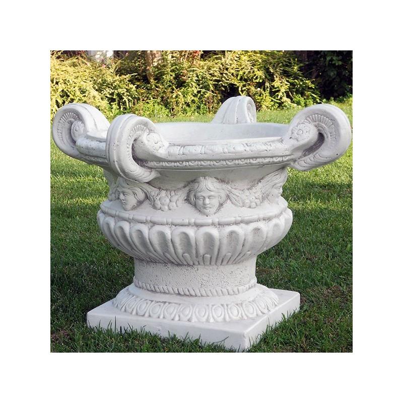 Vaso 4 Manici- arredo da giardino in graniglia di marmo di carrara