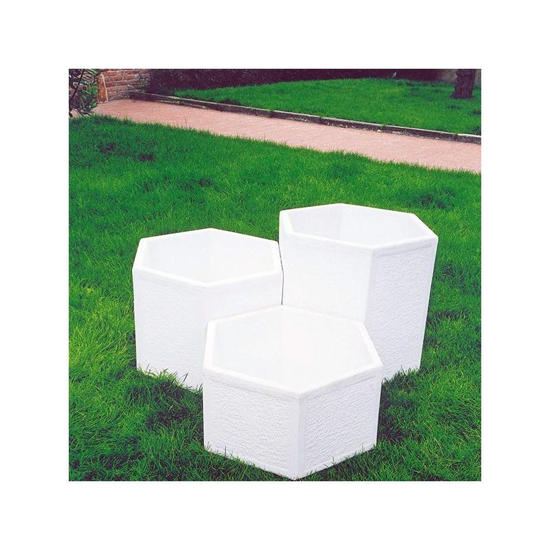 Vaso Esagonale (medio)- in graniglia di marmo di carrara