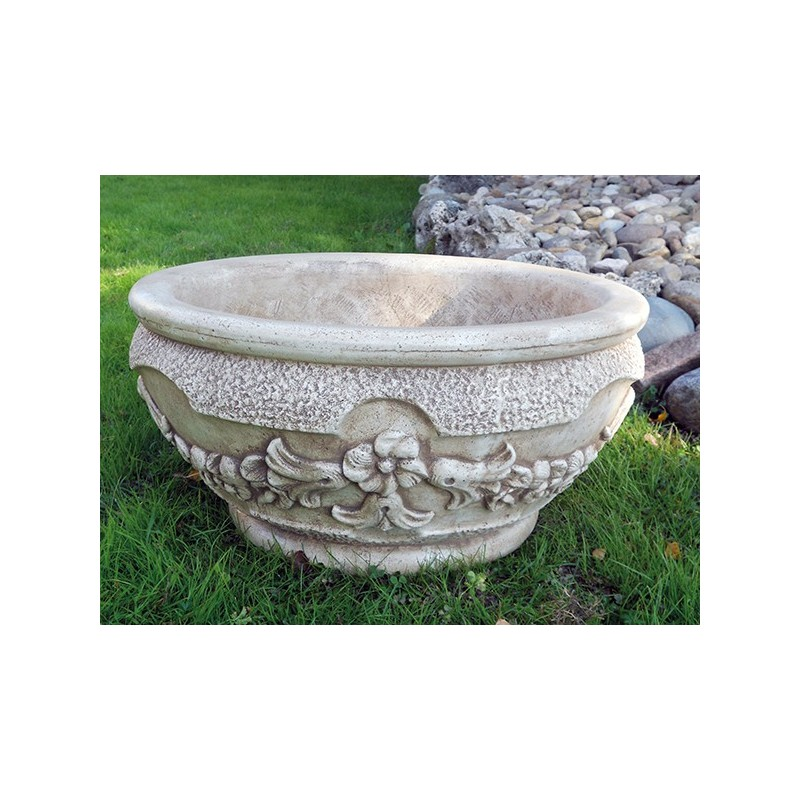 Ciotola Fiordaliso- arredo da giardino in graniglia di marmo di carrara