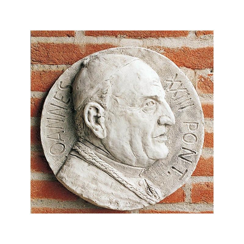 Bassorilievo Papa Giovanni XXIII - arredo da giardino in graniglia di marmo di Carrara 100% Made in Italy