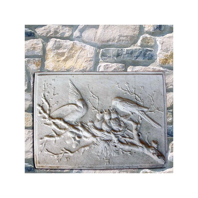 Bassorilievo con Passeri - arredo da giardino in pietra ricomposta 100% Made in Italy