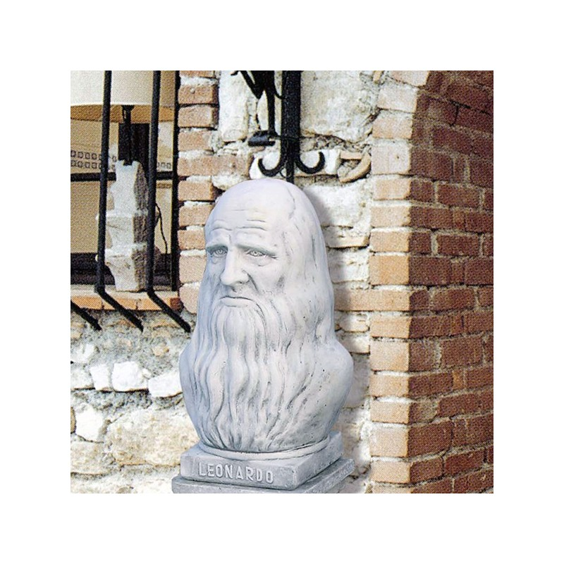 Busto Leonardo da Vinci - arredo da giardino in graniglia di marmo di Carrara