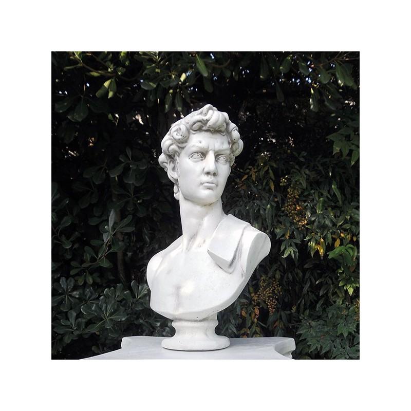 Busto David - busto arredo da giardino in graniglia di marmo di Carrara 100% Made in Italy