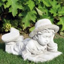 Bimbo che legge - statua da giardino arredo da giardino in graniglia di marmo di Carrara
