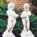 Coppia bimbi frutta (grande) - statue da giardino in graniglia di marmo di Carrara 100% Made in Italy