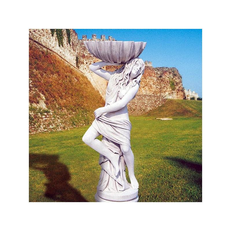 Fanciulla con conchiglia - statue da giardino in graniglia di marmo di Carrara