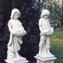 Coppia bimbi - statue da giardino in graniglia di marmo di Carrara