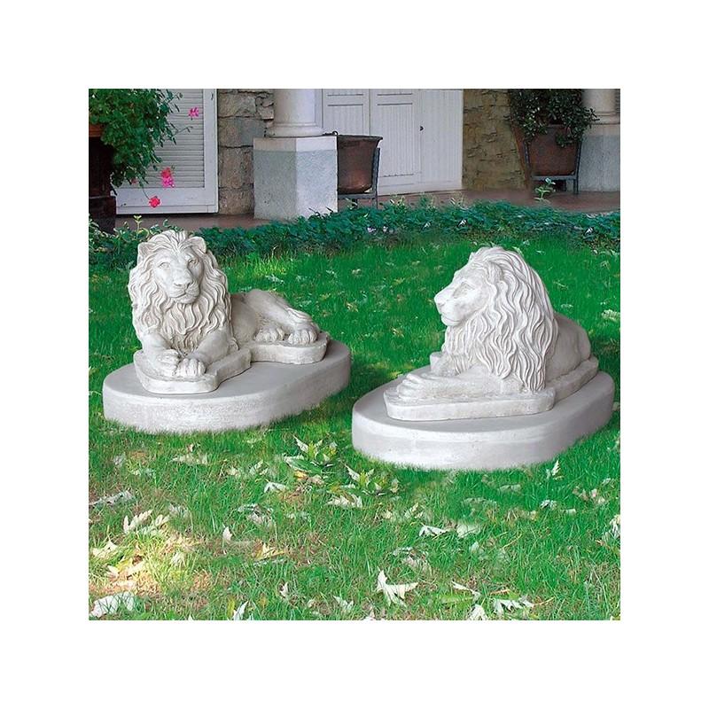 Coppia leoni Mauritania - statue da giardino animali in graniglia di marmo di Carrara