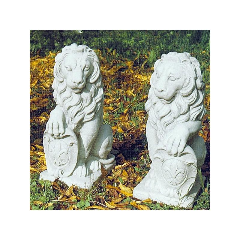 Coppia leone con scudo - statue da giardino animali in pietra ricomposta