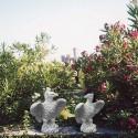 Coppia aquila statue da giardino animali in graniglia di marmo di Carrara