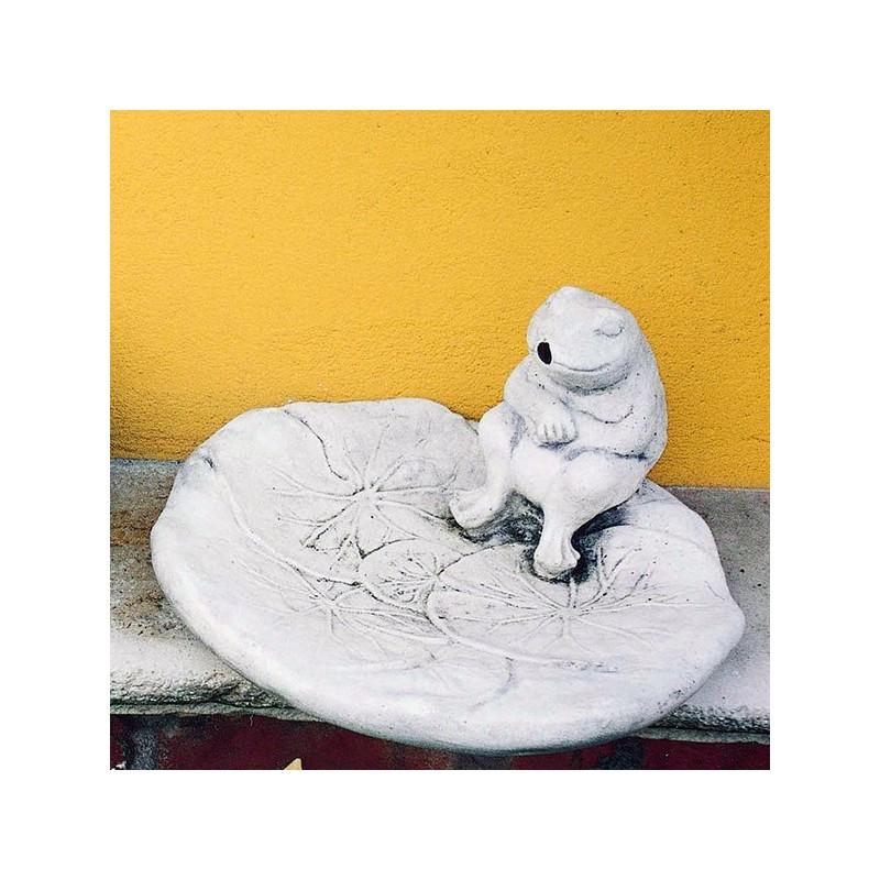 Rana su conchiglia - arredo da giardino statua da giardino in pietra ricomposta