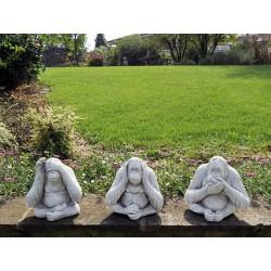 Serie 3 scimmie - arredo da giardino statue da giardino in graniglia di marmo di Carrara