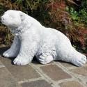 Orso - arredo da giardino statua da giardino in graniglia di marmo di Carrara al 100% Made in Italy