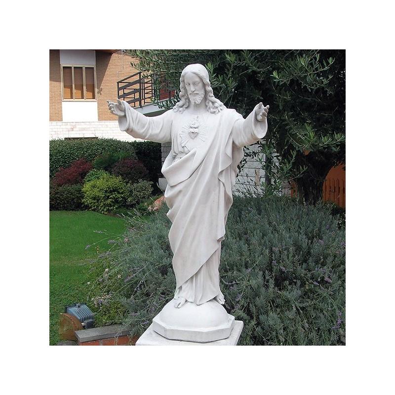 Sacro cuore - arredo da giardino statua da giardino in graniglia di marmo di Carrara 100% Made in Italy