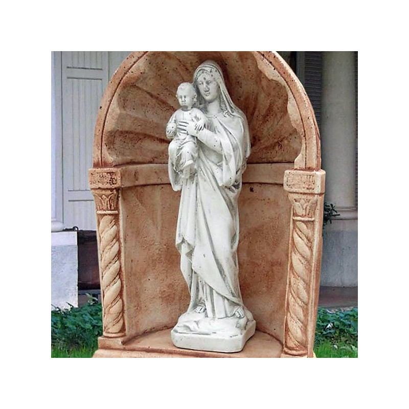 Madonna con Gesù - Statue da giardino in graniglia di marmo di Carrara
