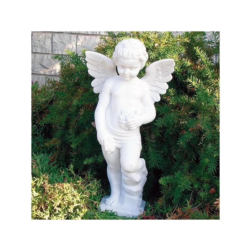 Angelo - soggetti sacri arredo da giardino in graniglia di marmo di Carrara 100% Made in Italy
