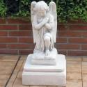 Angelo in preghiera - statue da giardino, arredo da giardino in graniglia di marmo di Carrara