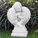 Angelo Custode (amorino) - Statue da giardino arredo da giardino in graniglia di marmo di Carrara