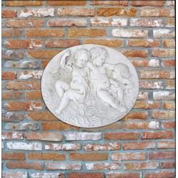 Bassorilievo Angeli - arredo da giardino in graniglia di marmo di Carrara 100% Made in Italy