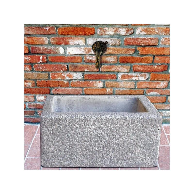 Raccogligocce Temù - fontane da giardino con rubinetto in cemento bianco