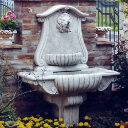 Fontana a muro Palermo - fontane da giardino con rubinetto in graniglia di marmo di Carrara