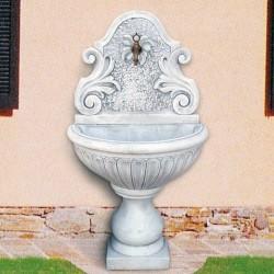 Fontana a muro Nicoletta fontane da giardino con rubinetto in cemento bianco