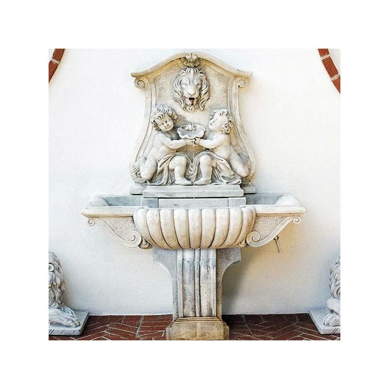 Fontana a muro Roma - fontane da giardino con rubinetto in graniglia di marmo di Carrara