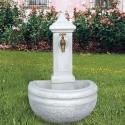 Fontana Amelia - fontane da giardino con rubinetto in cemento bianco