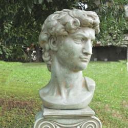 Busto David - arredo da giardino in graniglia di marmo di Carrara