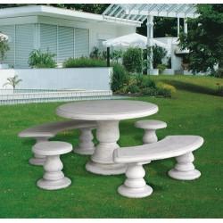 Salottino Mavina - arredo da giardino in graniglia di marmo di Carrara 100% Made in Italy.